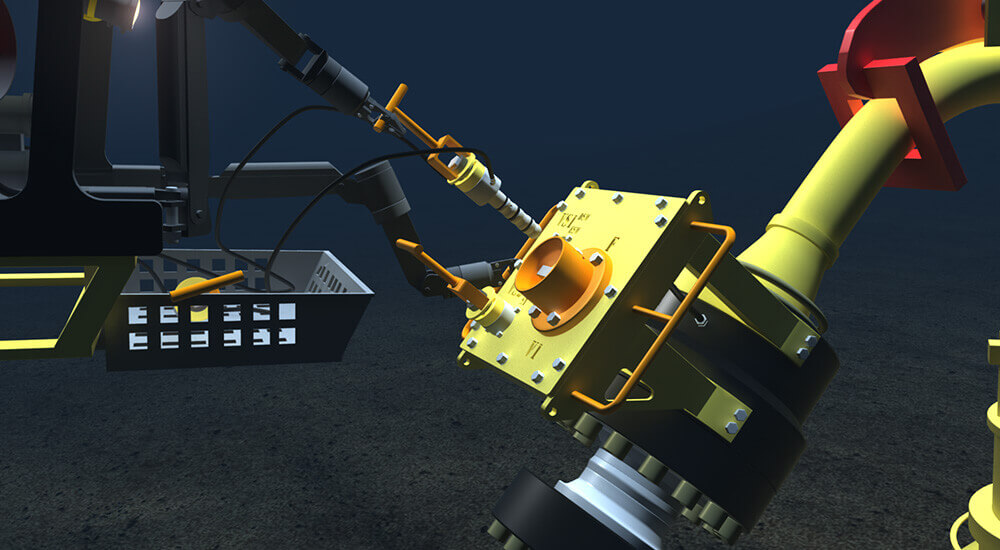 Pressurized hydraulics, power and data signals supply the ROV to operate subsea tools